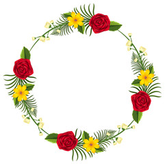 Round border template with yellow and red flowers