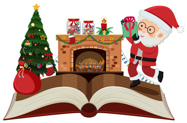 Storybook with Santa Claus and christmas night