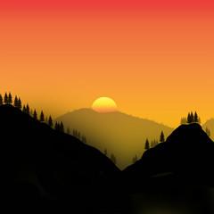 Minimalist design illustration of mountains at sunset