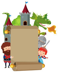 Banner template with fairytale characters
