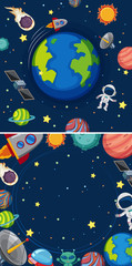 Two scenes of planets in galaxy