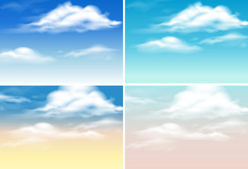 Four background scenes with clouds in blue sky
