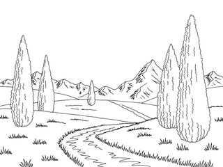 Mountain road graphic cypress black white landscape sketch illustration vector