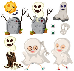 Ghosts and gravestones on white background