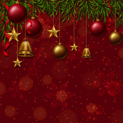 Background template with christmas ornaments