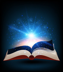Book with bright light shinning