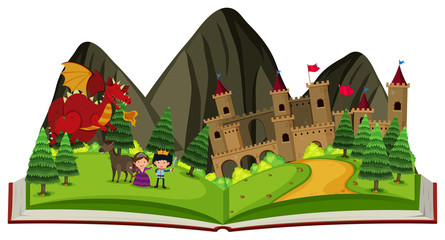 Storybook with dragon at the castle