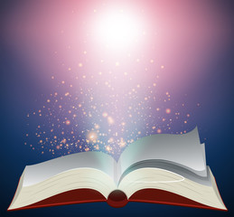Blank book with bright light