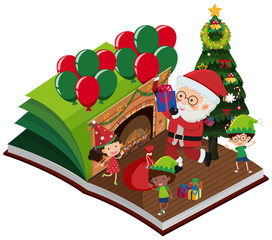 Santa Claus and happy children in the book