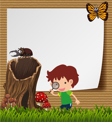 Paper template with boy and bugs