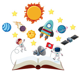 Book with astronauts and solar system