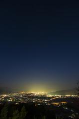 姨捨から見る篠ノ井の夜景