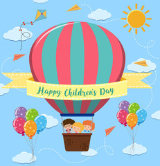 Happy children's day poster with kids riding balloon