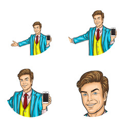 Set of vector pop art round avatar icons for users of social networking, blogs, profile icons. Businessman, manager, host, owner demonstrates smartphone and makes inviting gesture with his arm