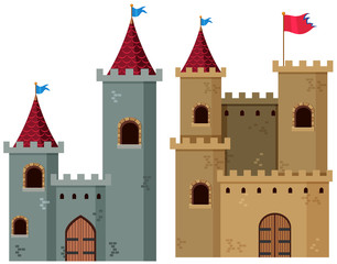 Two castle towers with flags