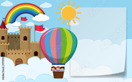Border template with kids riding balloon\