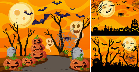 Three background with halloween night and jack-o-lanterns
