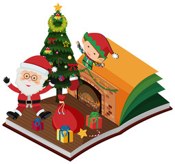 Book with santa and elf for christmas