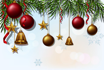 Background template with christmas balls and bells