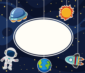 Border template with astronaut in space