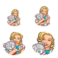 Set of vector pop art round avatar icons for users of social networking, blogs, profile icons. Child, little blond girl with two pigtails hugs his gray teddy bear