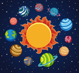 Solar system background with planets around the sun