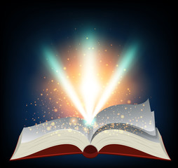 Red book with burst of light