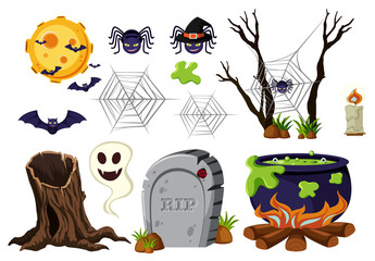 Halloween elements with spiders and bats