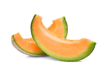 slice of japanese melons, orange melon or cantaloupe melon isolated on white background