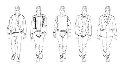 Fashion man. Set of fashionable men's sketches on a white background. Autumn men.