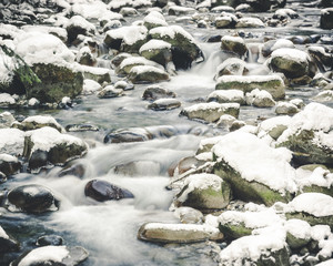 Winter Long Exposure River Water Flowing in Snow Covered Rocks
