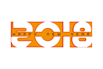 Vector 2018 Happy New Year design with text on white background.