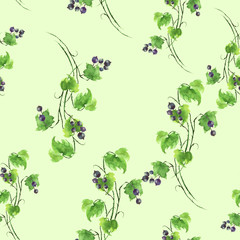 Seamless watercolor background with an even branch of currant, berries, leaves. Beautiful vintage floral pattern. Green branch with berries of black currant. On a green background.