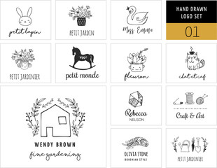 Simple and stylish collection of modern logos and illustrations