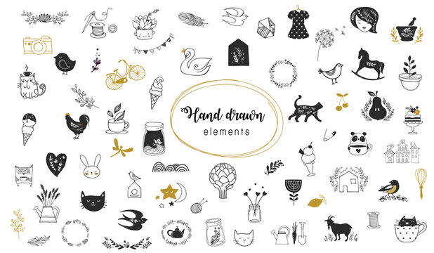 Simple illustrations, vector hand drawn elements, doodles