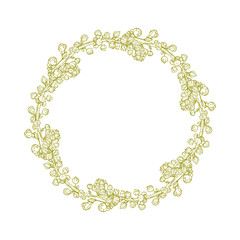 Isolated abstract round wreath shape. Natural symbol.