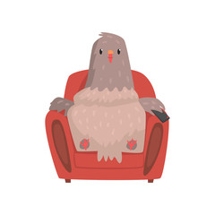 Funny pigeon in red armchair with tv remote control