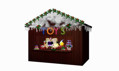 Weihnachtsstand mit Spielzeug und einer Weihnachtsfee
