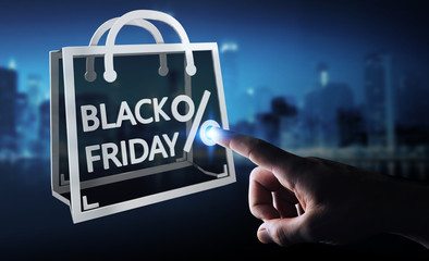 Businessman enjoying black Friday sales 3D rendering