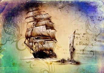 Ship on the sea or ocean art illustration