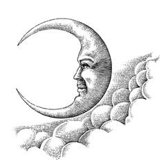 Vintage moon hand drawing vintage style