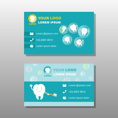cartoon tooth with business card