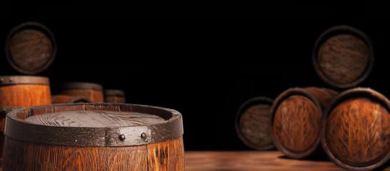 Rustic wooden barrel on a night background Fototapete