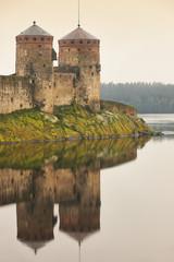 Savonlinna castle fortress at dawn. Finland landmark. Finnish heritage
