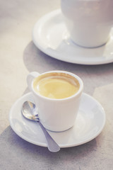 Cup of espresso coffee in the morning