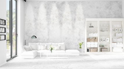 Modern loft interior in vogue with white couch and copyspace in horizontal arrangement. 3D rendering.