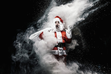 Explosion of snow Santa Claus.