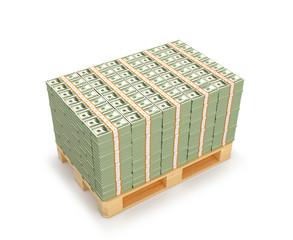 Many packs of hundreds of dollars on wooden pallets. 3D illustration