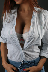 Sexy woman showing her sexy breast with shirt open