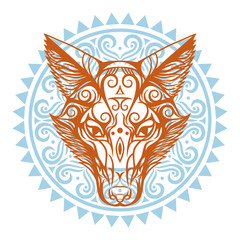 Fox2/Red fox on blue ornament background. Hand-drawn with ethnic pattern.